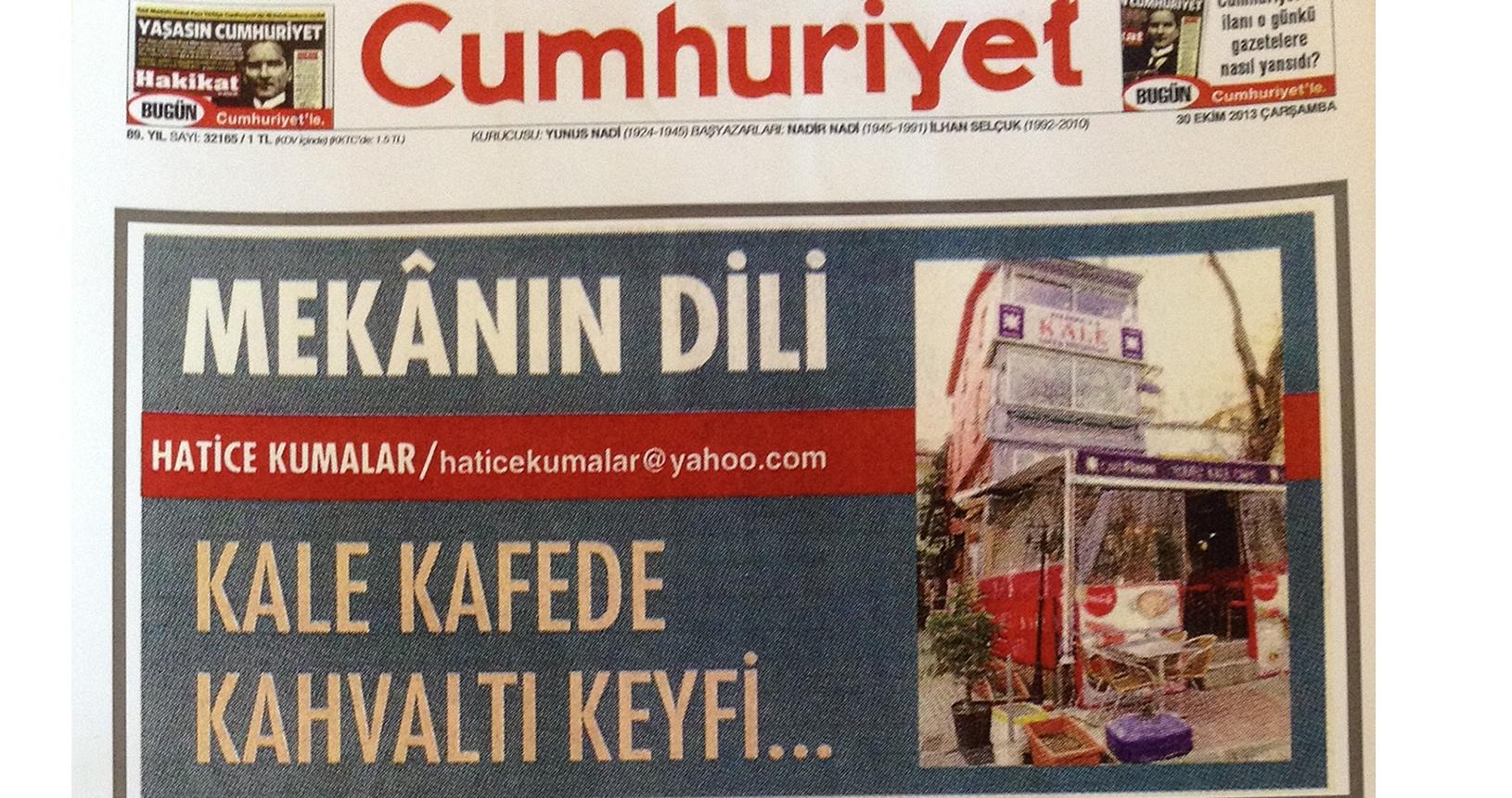 Kale Cafe Cumhuriyet Gazetesi